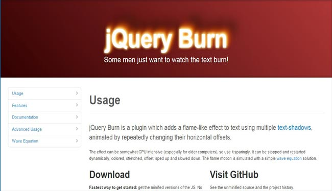 Burn - jQuery Free Plugin For Text flame effect