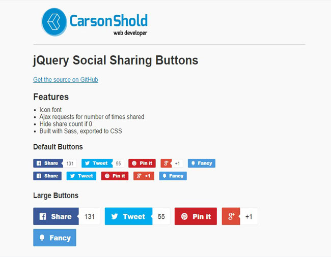 CShold - Simple social sharing buttons with shared count ajax lookups