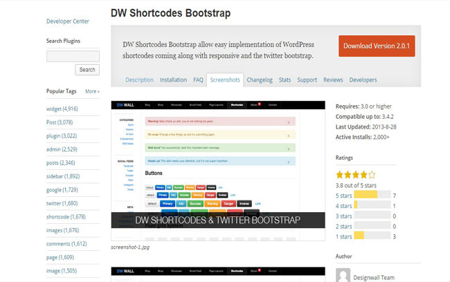 DW Shortcodes – Free Bootstrap Shortcodes Plugin