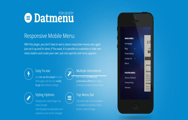 Datmenu - jQuery Responsive Menu with Multiple animation