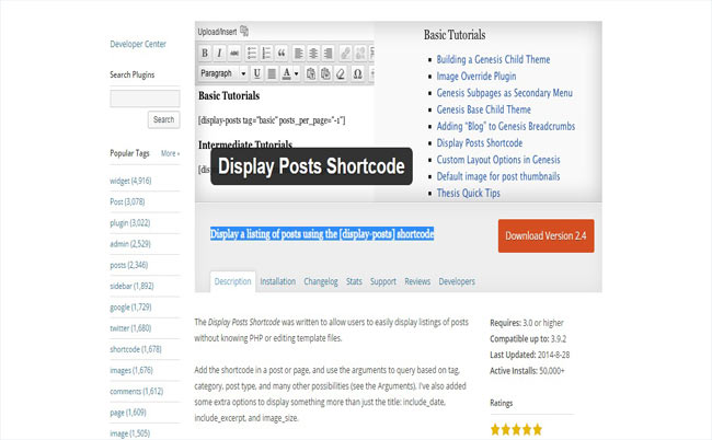 Display Posts - Display a listing of posts using the shortcode