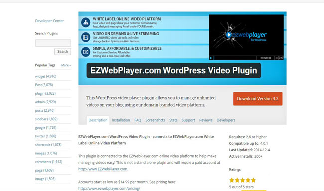 EZWebPlayer WordPress Video Plugin Manage unlimited video
