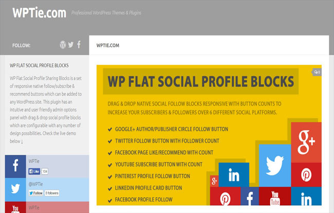 Flat Social - Intuitive and user Friendly Profile Block Plugin