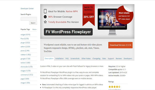 Flowplayer Most Reliable Video Player Plugin