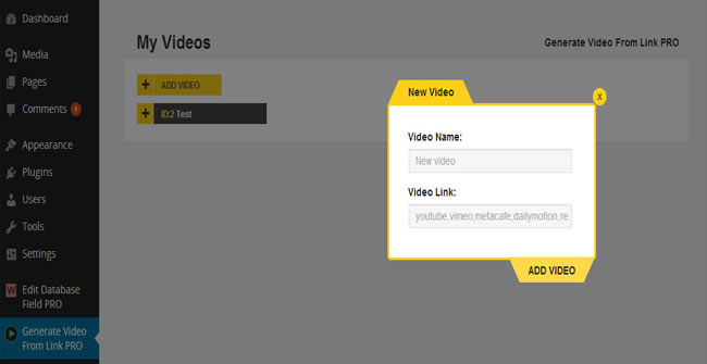 Generate Video From Links PRO powerful wordPress Plugin