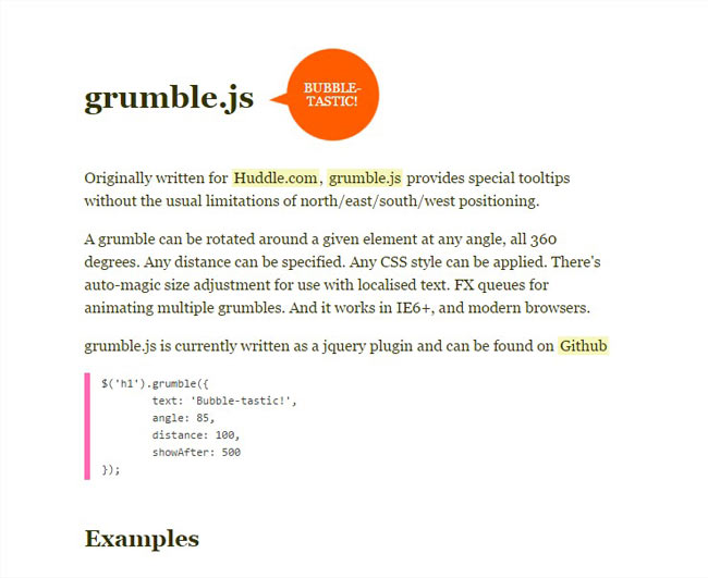 Grumble.js - jQuery plugin to add 360 rotatable bubble style tooltips