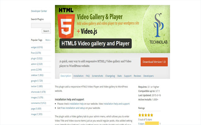 HTML5 Moder Video gallery and Video player