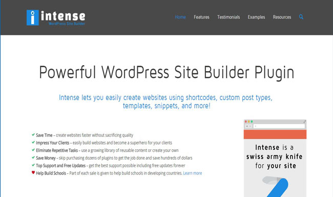 Intense - Clean Shortcodes and visual Site Builder for WordPress
