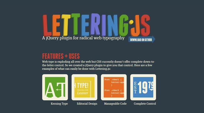 Lettering.js - jQuery Free plugin for radical web typography