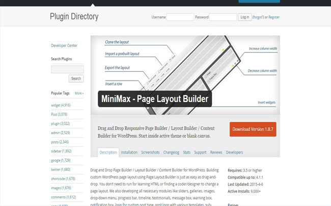 MiniMax – Free Responsive Page Layout Builder Plugin