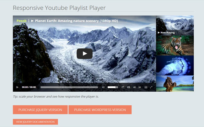 Modern Youtube Playlist Player with HTML5