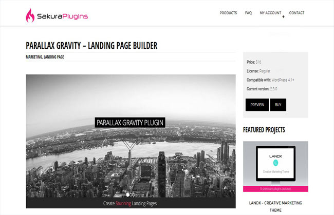 Parallax Gravity - Create unlimited Landing Page Plugin