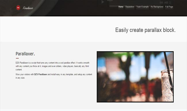 Parallaxer - Parallax Effects on Content with jQuery