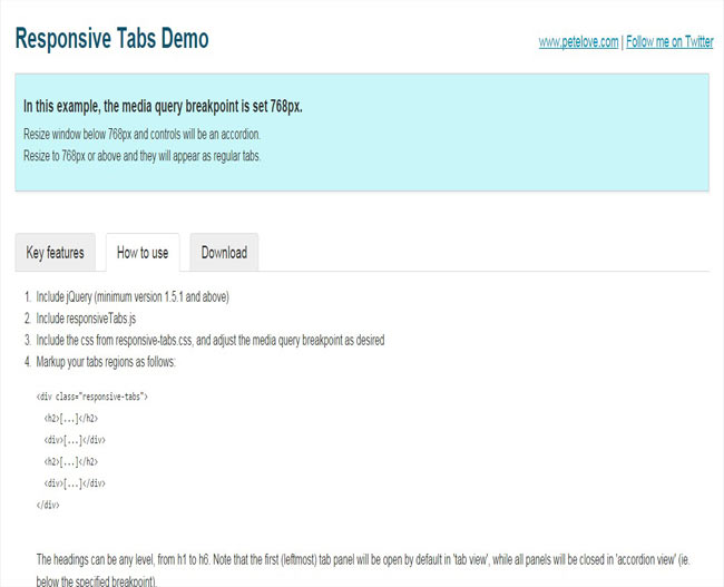 PeteloveTabs - Simple jQuery plugin for creating tabs/accordion