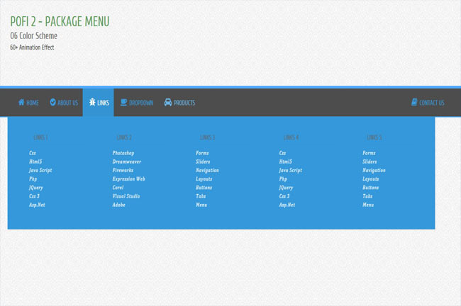Pofi2 jQuery - Responsive Animated Menu with awesome effect