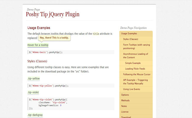 Poshy Tip - Tooltips with jQuery for Form Validation