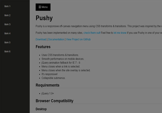 Pushy - jQuery Off-canvas menu with css3 transform and Transition