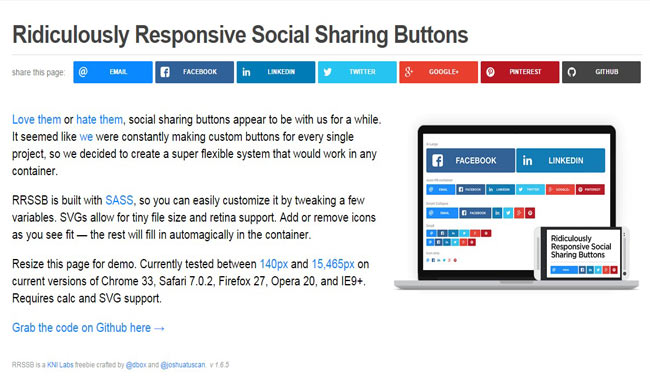 Rrssb - Ridiculously Free Responsive Social Sharing Buttons