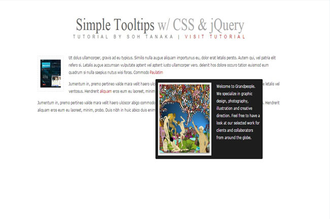Simple Tooltip - Free simple tooltip with css3 and jQuery