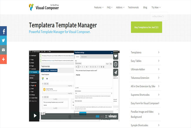 Templatera - Visual Composer Powerful Template Manager for wordPress