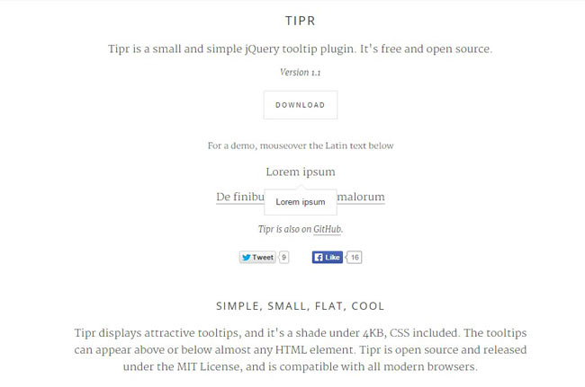 Tipr - small and simple jQuery tooltip