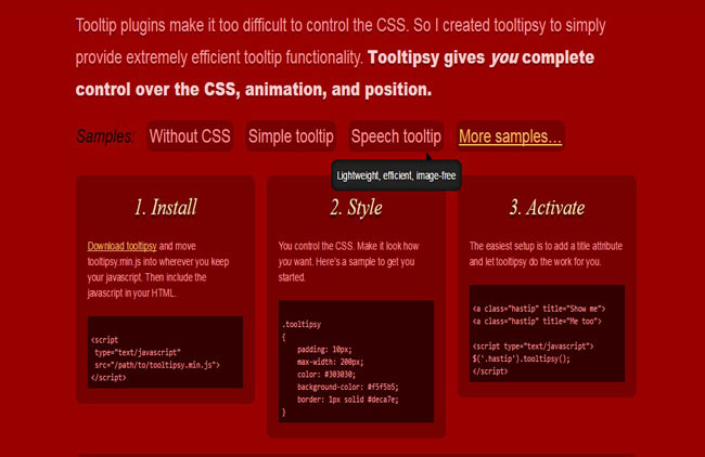 Tooltipsy - jQuery tooltip plugin for control-obsessed designers