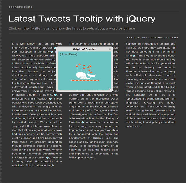 Tweets Tooltip - Latest Free jQuery Plugin