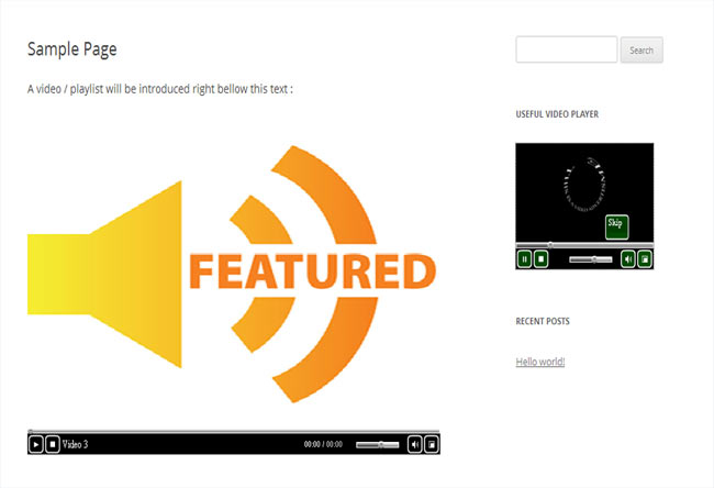 Useful Video Player allows embed videos to your website