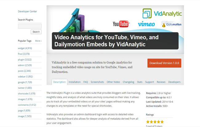 Video Analytics wordPress Plugin for Youtube,Vimeo and Embeded Video