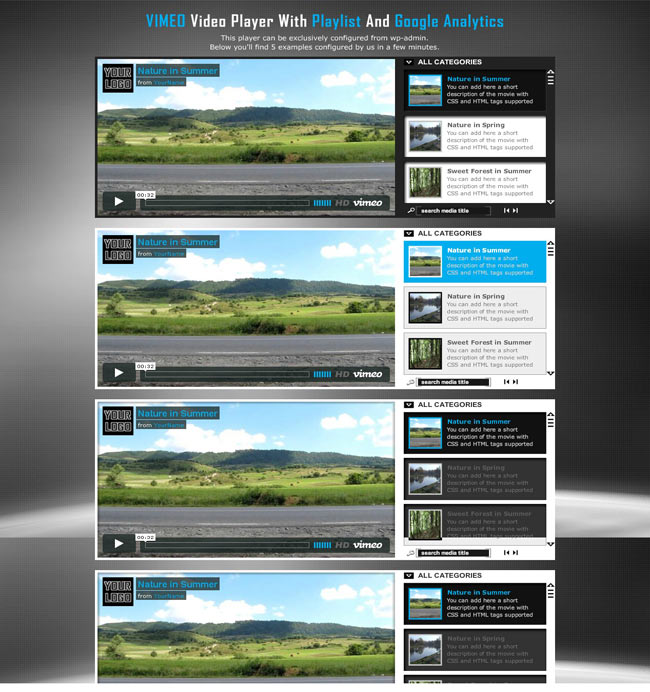 Vimeo Video Player WP Plugin with customize Playlist