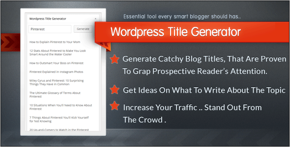 Wordpress Title Generator - Catchy titles for your chosen subject