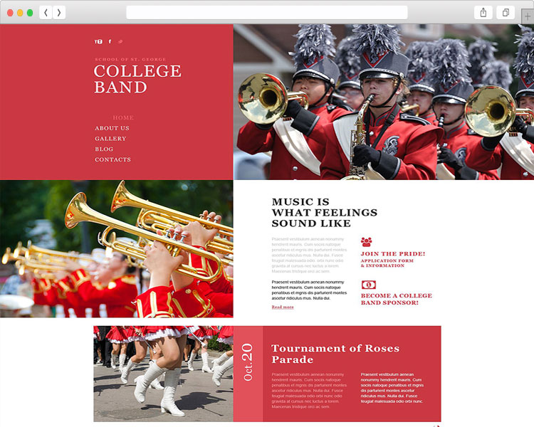 College Band - Stunning Html5 Template for Music