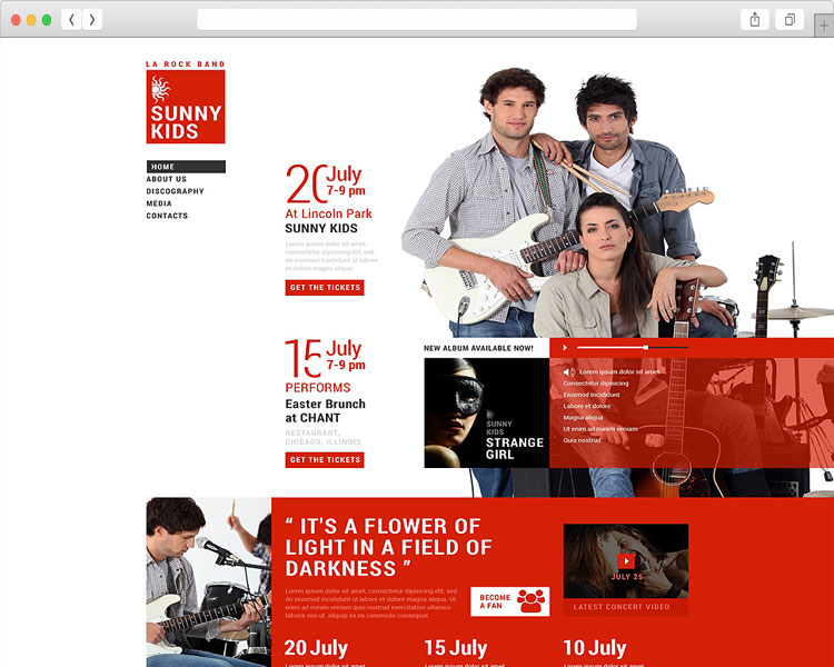 Sunny Kids - Music Band Responsive Website Template