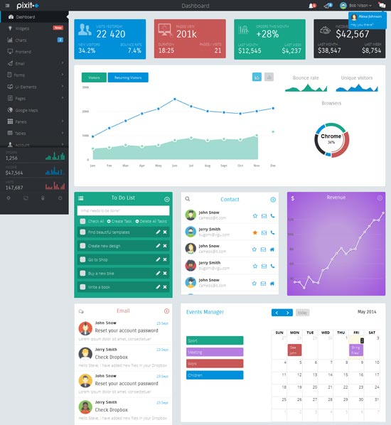 Pixit -Bootstrap Admin & Frontend Template