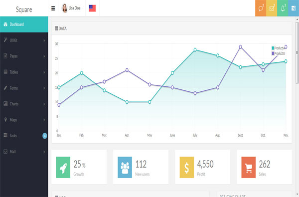 Square - Responsive Admin App with AngularJS Template
