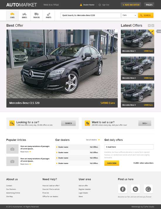 AutoMarket - HTML Vehicle Marketplace Website Template