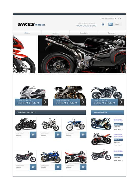 Bikes Market automobile free  Website Template
