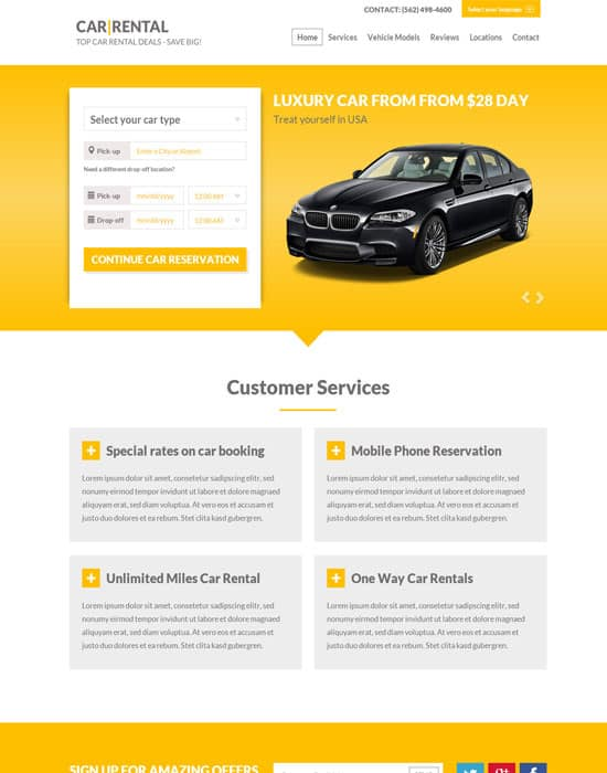 Car Rental Landing Page Website Template