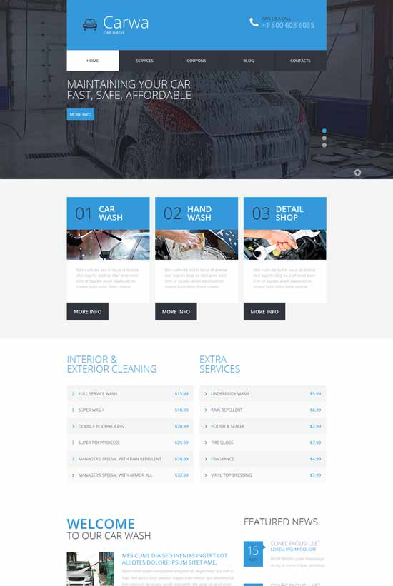 Carwa – car wash Responsive HTML Website Template