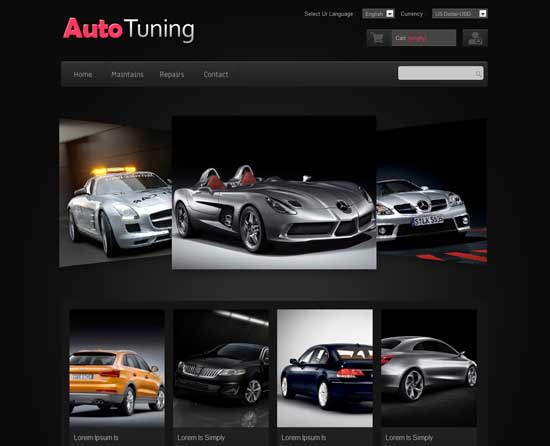 Free  Auto Tuning automobile responsive Website Template