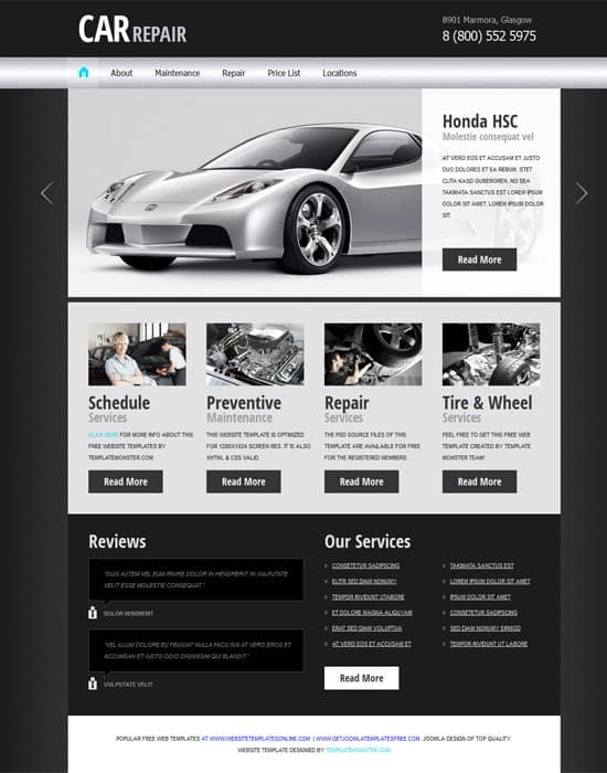 Free Car/Auto Project Website Template