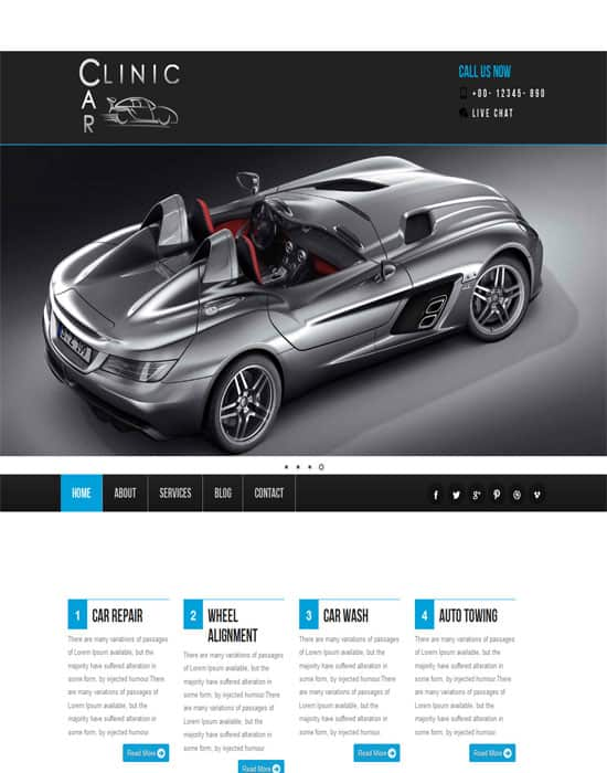 Free Car Clinic responsive Website Template