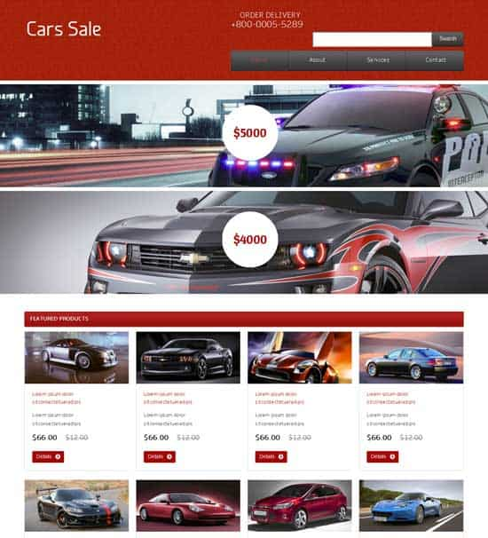 Free Cars Sale Website Template