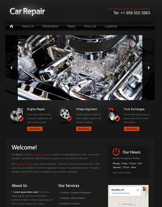 Free  Car repair website Template