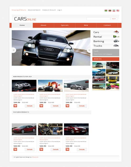Free Cars Online responsive Website Template