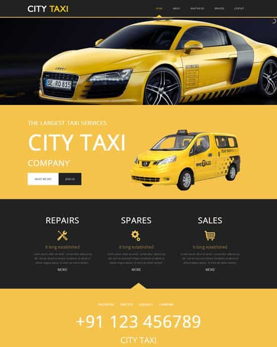 Free City Taxi cab services responsive Website Template