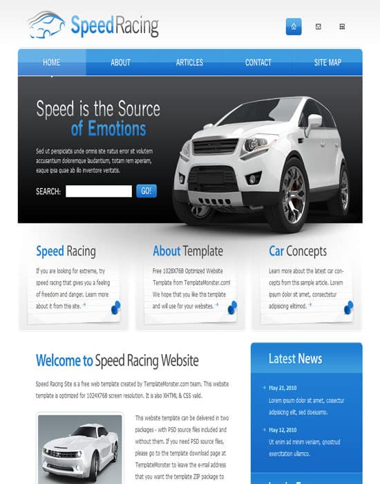 Free Racing HTML Website Template