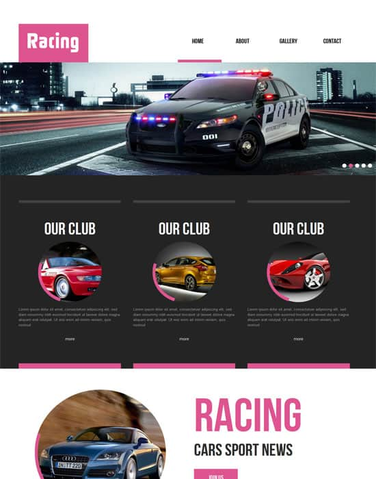 Free Racing automobile Mobile Website Template