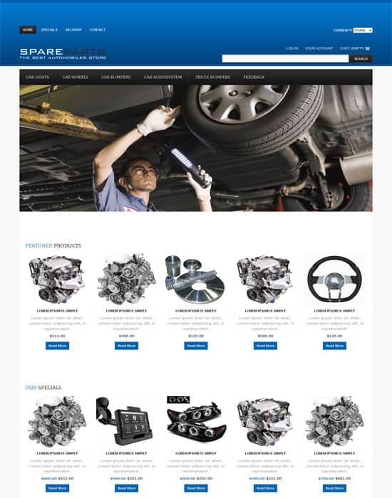 Free Spare Parts Automobile Website Template