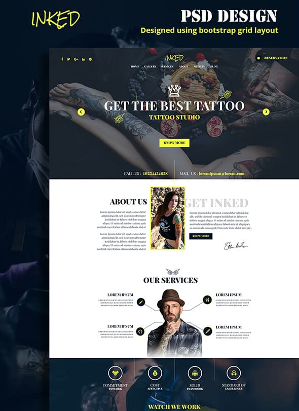 Inked PSD Template